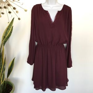 WHBM burgundy long sleeve fit & flair dress size 8